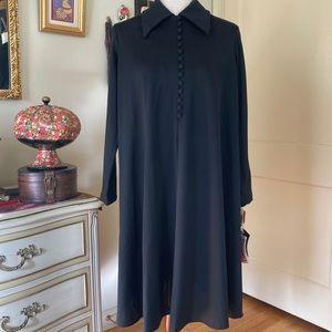 NWT Deadstock 70s Black Button Trapeze Dress 10